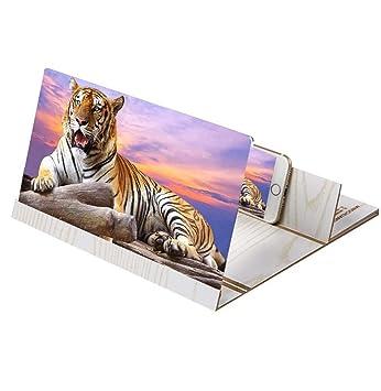 3D Pantalla Móvil Lupa HD Acrílico Amplificador 12 Pulgadas Mueble Soporte para Todos Los Smartphones Grano De Madera Blanca: Amazon.es: Electrónica