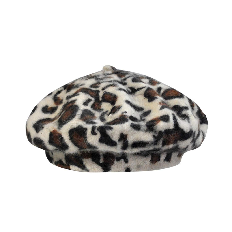 Women Vintage Leopard Print Wool Soft Winter Warm Beret Classic Beanie Newsboy Hat