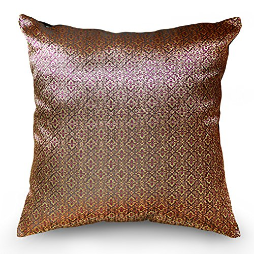 Handmade Throw Pillow Covers Art Thai silk design Thread 16''x16'' RedPink Tone by Smartliving