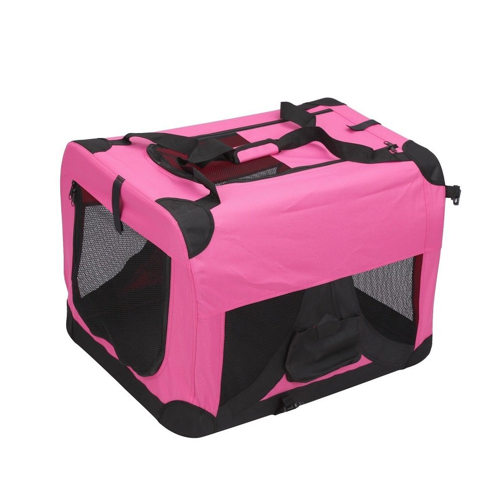 Magshion Folding Soft Crates Kennels Travel Carrier with Metal Frame, 32-Inch, for Pet Up to 50lb (Pink)