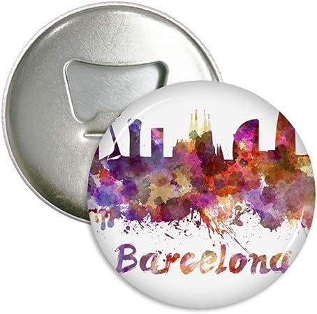 Barcelona España City watercolor abridor de botellas imán para frigorífico redondo botón de pines insignia regalo 3pcs: Amazon.es: Hogar