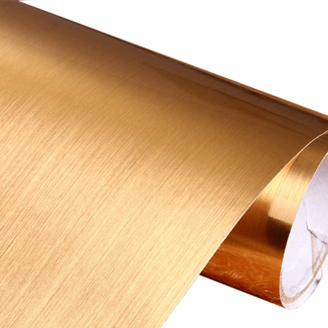 "Peel and Stick Brushed Metal Contact Paper Self Adhesive Vinyl Film Shelf Liner for Covering Backsplash Oven Dishwasher Pantry Appliances (24 x 117"", Gold)"