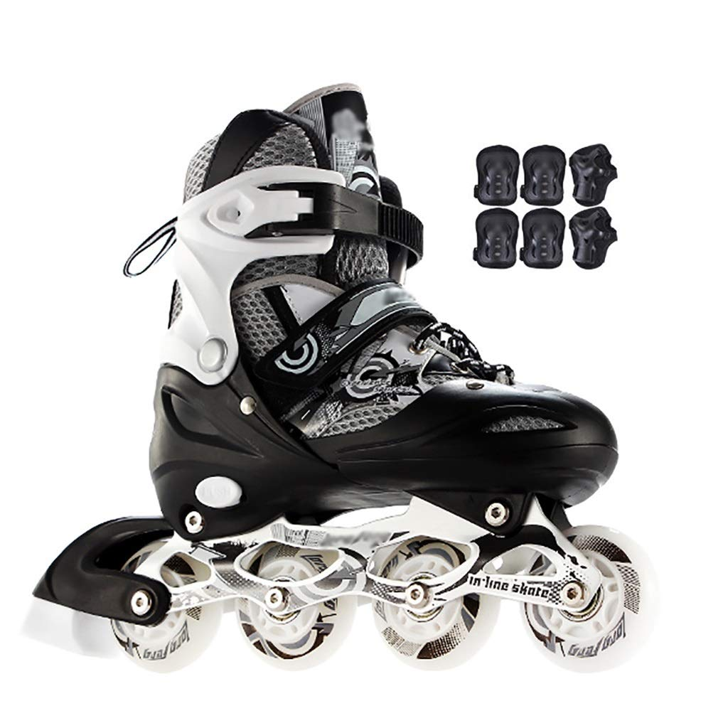Inline skates Adults Adjustable with Full Light Up Wheels White Rollerblades Outdoor Sports Beginner Roller Skates for Women Men (Color : Black2, Size : L(39-42))
