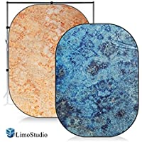 LimoStudio 7 x 5 ft. Tie Dye Rich Mocha & Dark Blue Collapsible Pop Out / Foldable Muslin Background