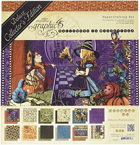 Graphic 45 Deluxe Collector's Edition Pack 12-Inch x 12-Inch Hallowe'en in Wonderland, Acrylic, Multicoloured by Graphic 45 ()