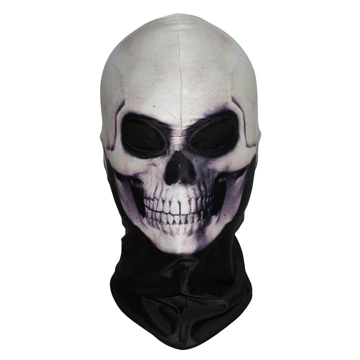 JIUSY 3D Skeleton Lycra Masks Scary Skull Balaclavas Ghost Headwear Cosply Costume Halloween Party Ski Full Face Mask