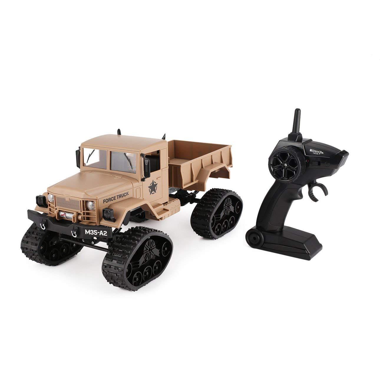 Ballylyly FY001B 2,4 Ghz 1/16 4WD Caterpillar Offroad RC Militär LKW Climber Crawler RC Auto mit Frontlicht für Kinder Spielzeug Geschenk