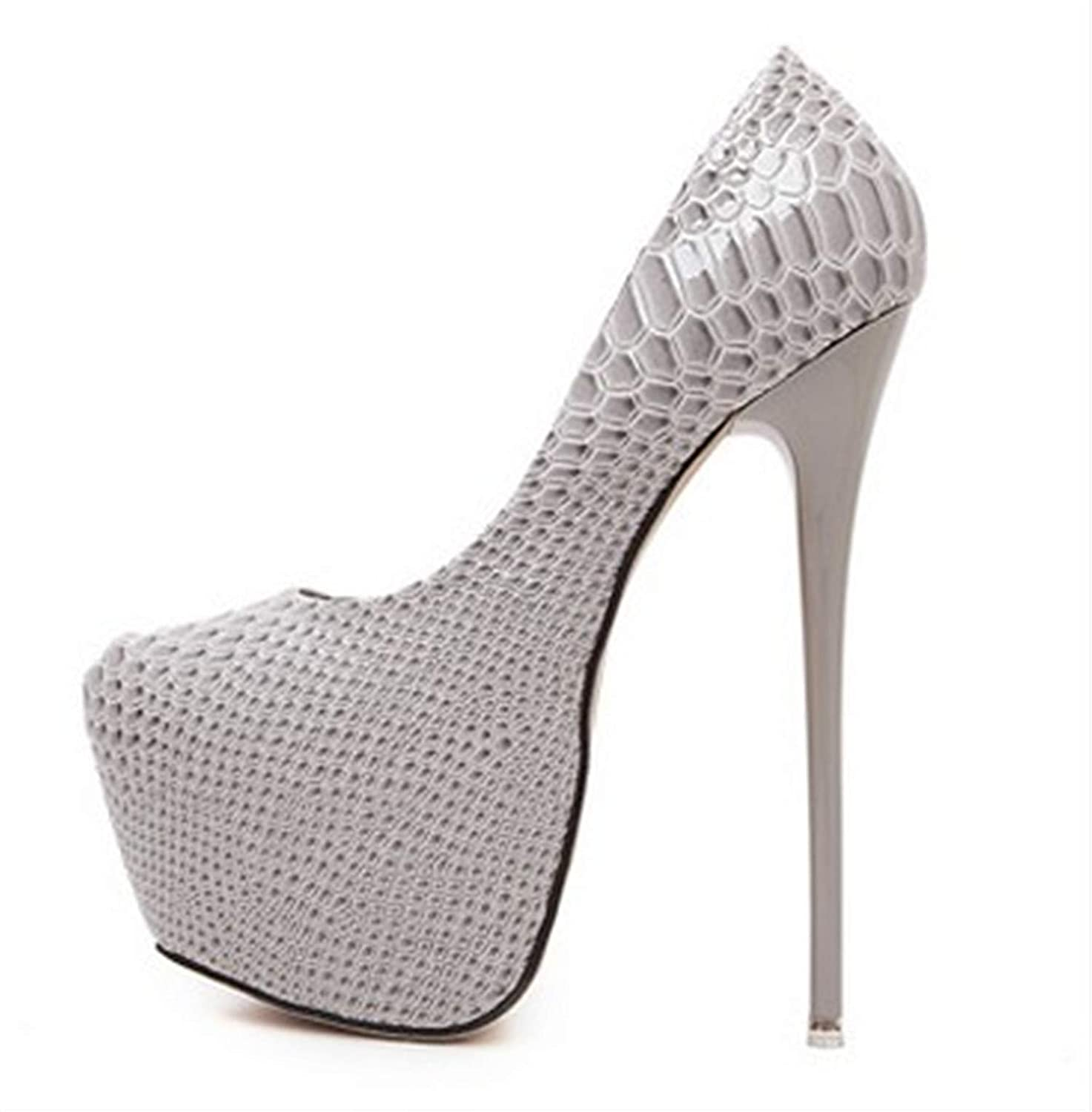 Men's/Women's Rngtaqubeic New Snakeskin Pumps 16 high cm high 16 Club high Heels Sexy high-Heeled Shoes Big Size 40 Beautiful design Beautiful appearance Breathable shoes NW8626 b2a538
