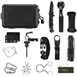 Outdoor Tool Kit 14 in 1 Outdoor Survival Equipment Tool, Survival Bracelet, Compass, Multifunctional Outdoor Equipment for Camping Climbing