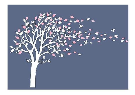 Vinilos Decorativos Pared Naturaleza.Bdecoll Adhesivo Mural Decorativo De Vinilo Naturaleza Bosque Wandtat Arboles Y Hojas Pared Pajaros Vinilo Decoracion De Interiores Blanco