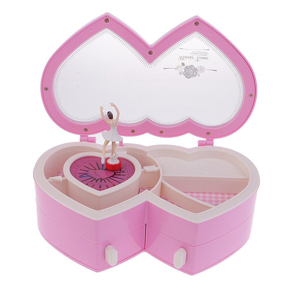 Baoblaze Double Heart Music Box Dancing Girl Jewelry Box Home Ornament Children Kids Gift Toy