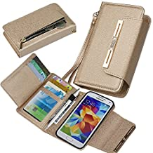 Samsung S5 Case, xhorizon TM SR [Upgraded] 2 in 1 Premium Leather Wallet Rhinestone Button Closure Magnetic Car Mount Phone Holder Compatible Folio Case for Samsung Galaxy S5 i9600