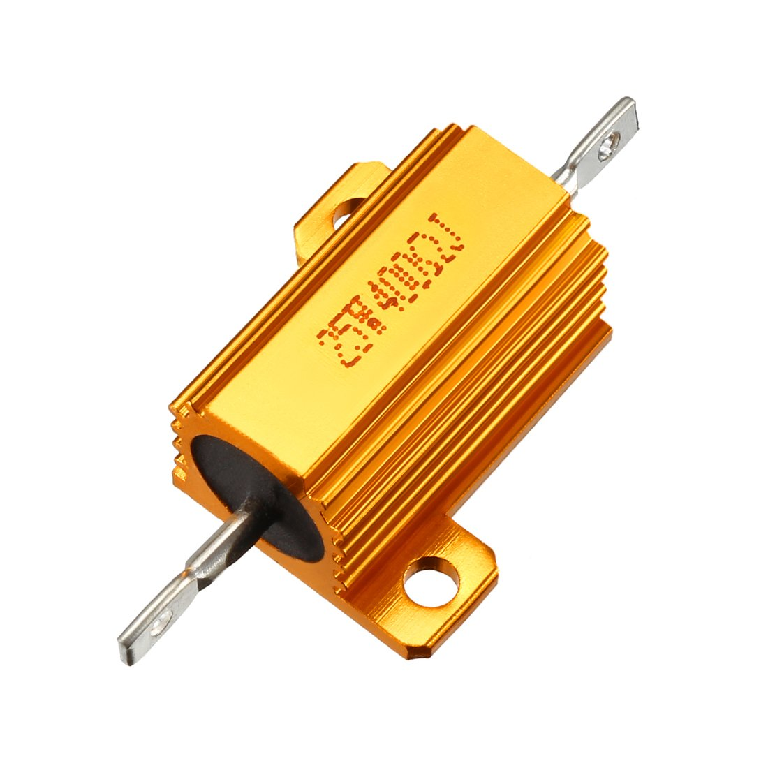 sourcingmap 25 Watt 50 Ohm 5/% Aluminum Housing Resistor Screw Tap Chassis Mounted Aluminum Case Wirewound Resistor Load Resistors Gold Tone