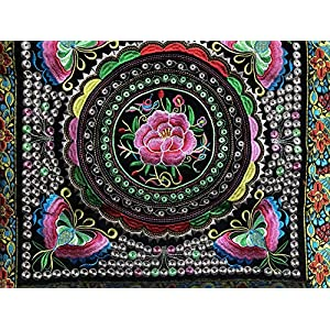 "Image of Home and Kitchen Rose Tapestry 17""x17"" original handmade in Tibet with provenance records"