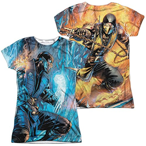 Trevco Juniors: Mortal Kombat- Sub Zero Vs. Scorpion (Front/Back) Juniors (Slim) T-Shirt Size L -