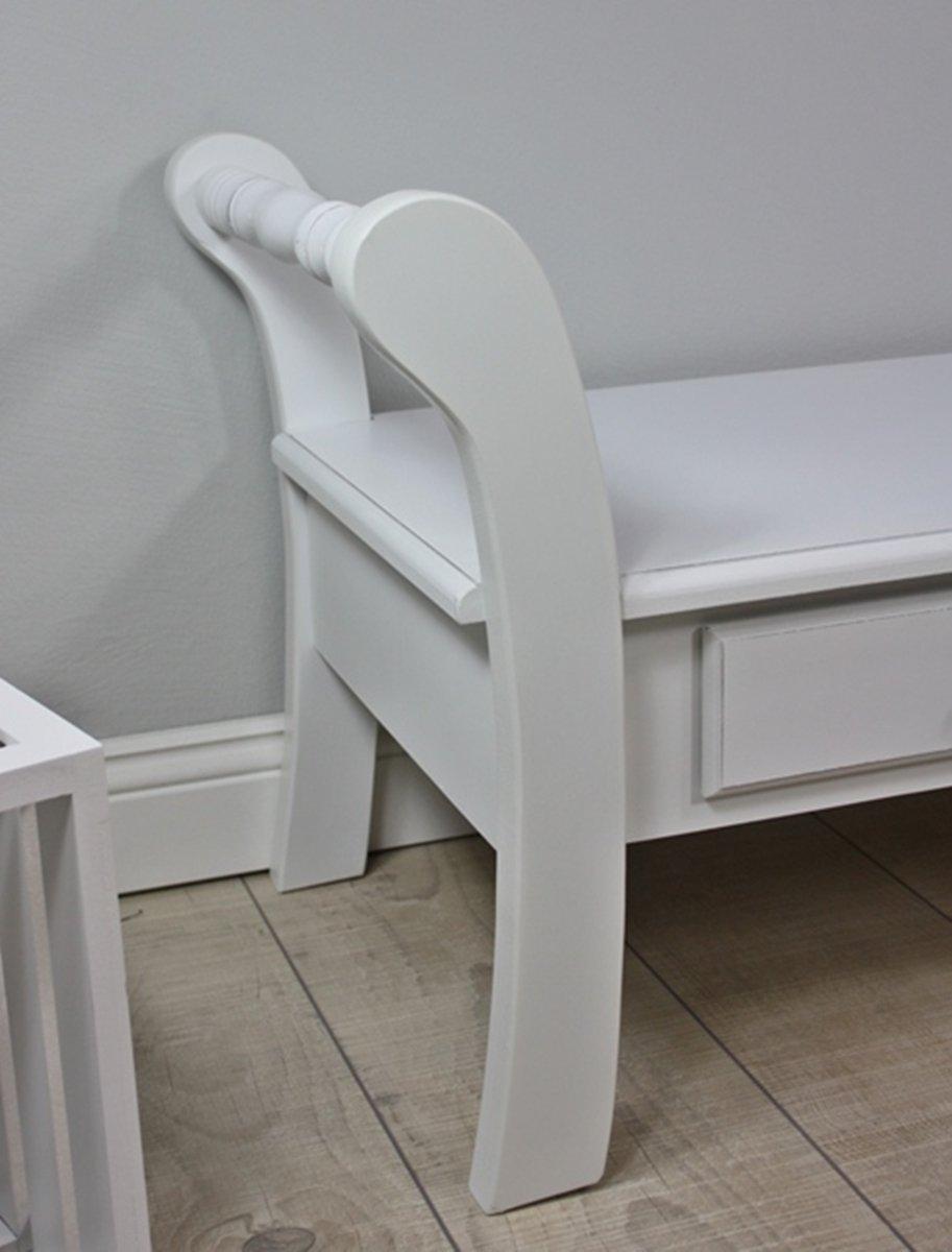 Elbmöbel holzbank in weiß antik aus holz im landhaus stil mit ...