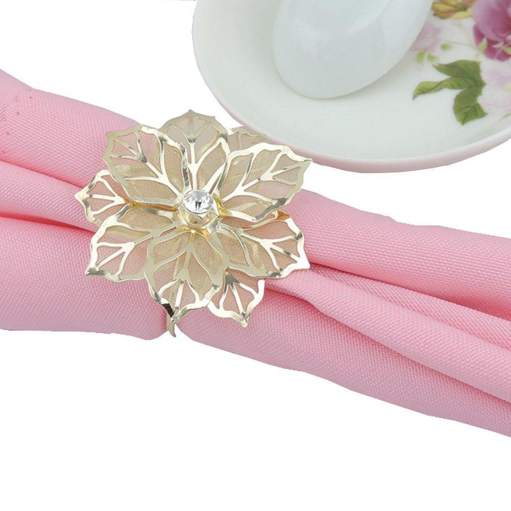 Amazon.com: Elinq Set of 12 Napkin Holder 3D Flower Napkin Rings ...