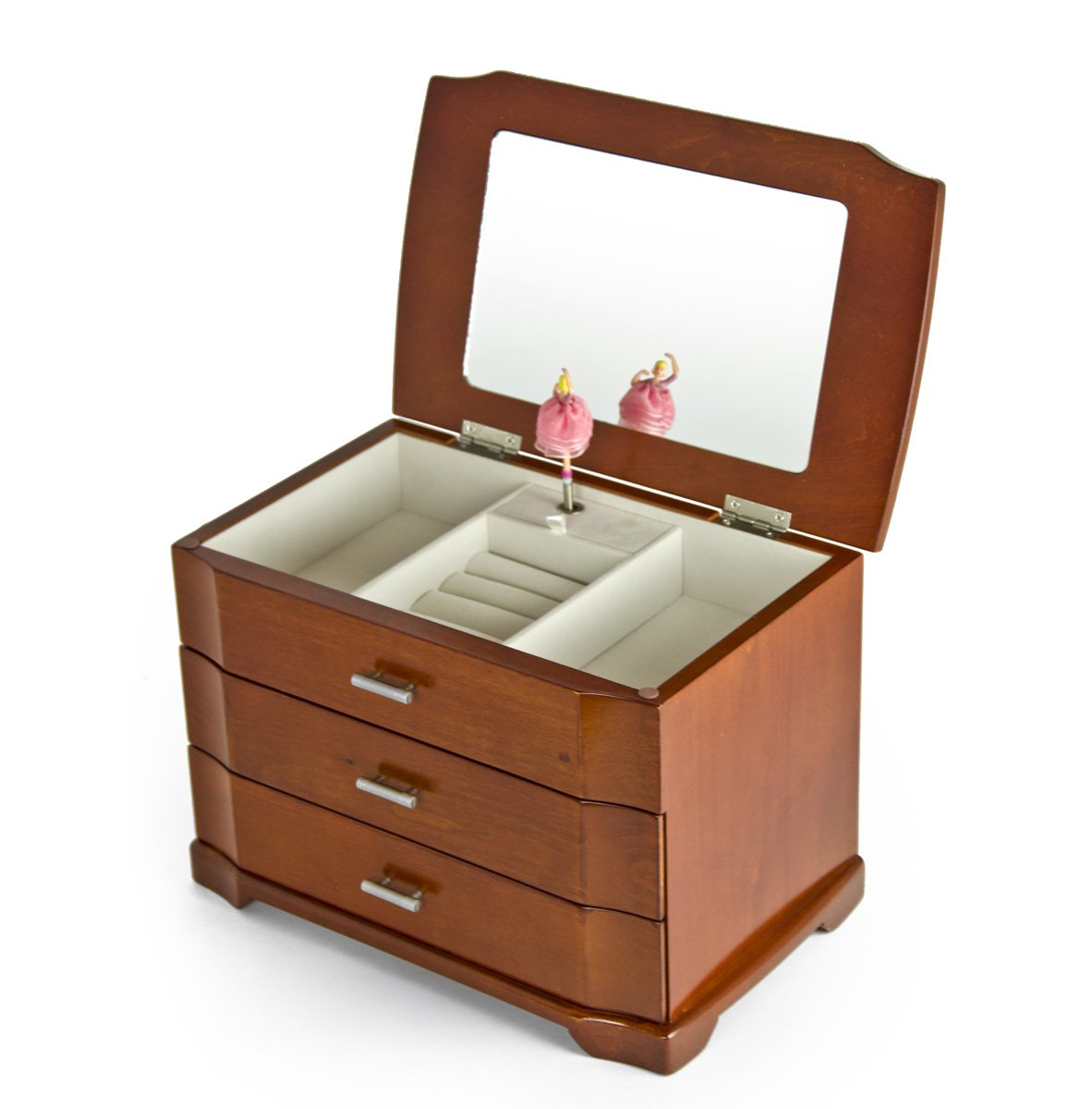 Modern Wood Tone 18 Note Ballerina 3 Tiered Musical Jewelry Box - Easy Song Selection - Take Me Out to the Ball Game by MusicBoxAttic (Image #2)