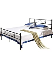 Aingoo Double Metal Bed Frame 4ft 6 Beds with Strong Headboard and Footboard for Kids Adults Guest Black