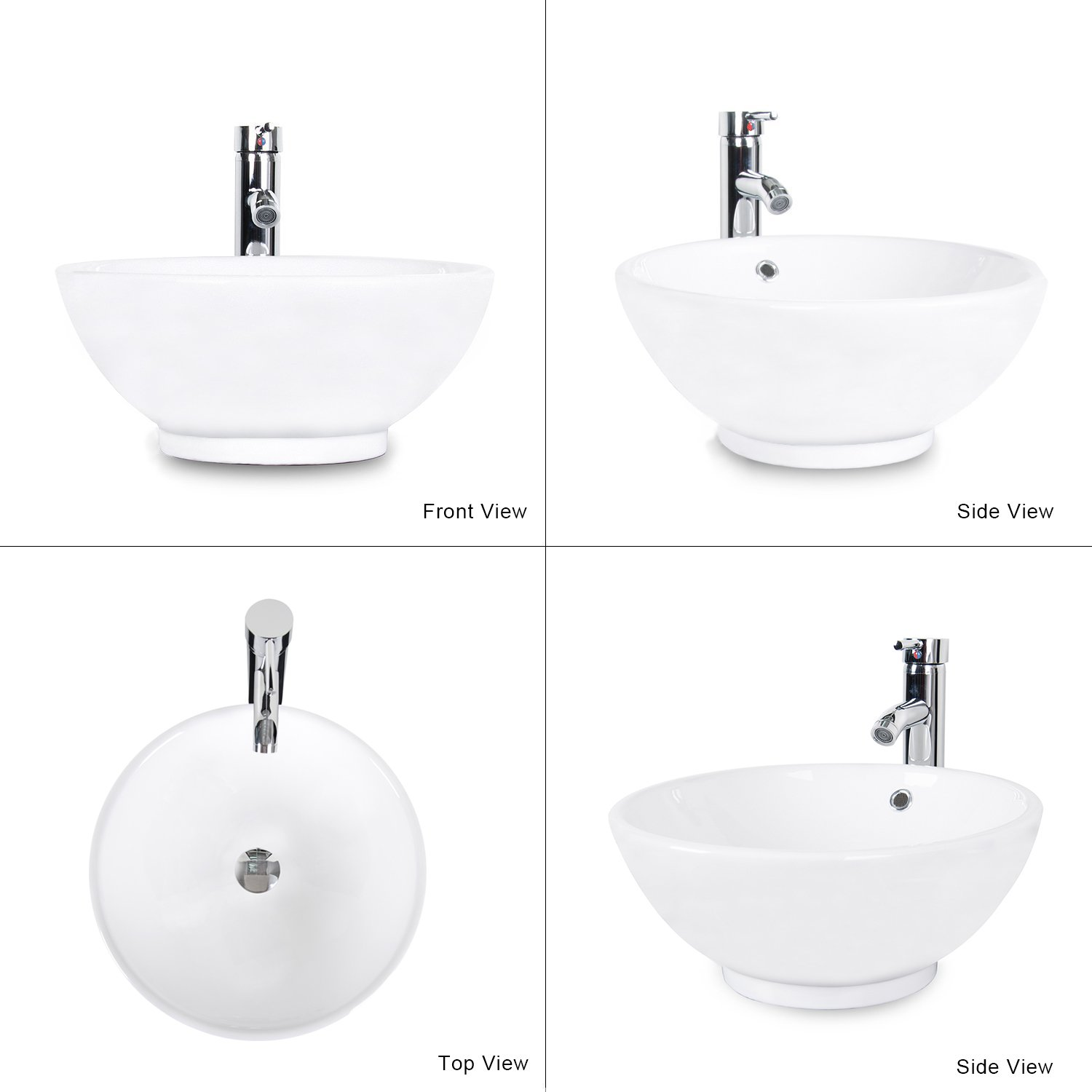 Bathroom sink top view - Eclife 1 5 Gpm With Overflow Counter Top Round Bathroom Ceramic Porcelain Vessel White Vanity Sink Combo With Solid Brass Pop Up Drain And Chrome Faucet A06