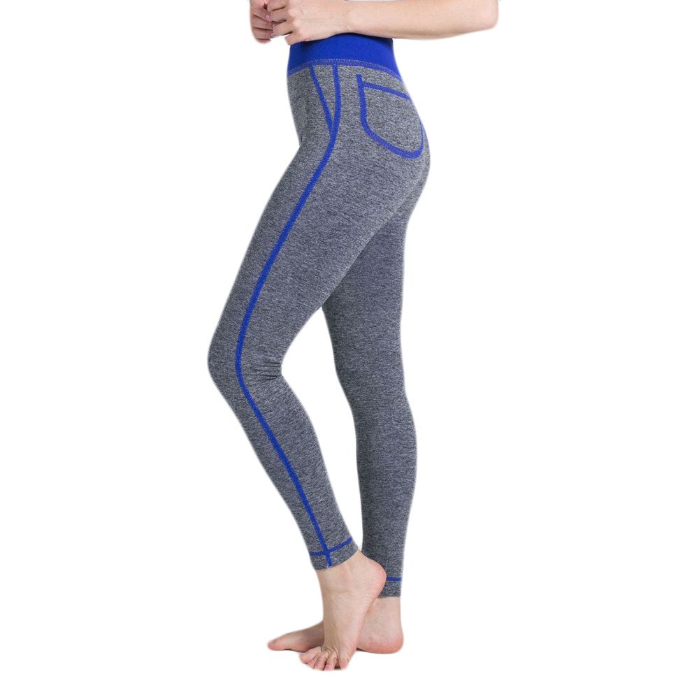 Bravetoshop Women Workout Legging for Running Hight Waist Yoga Pant Fitness Gym (Blue, L)