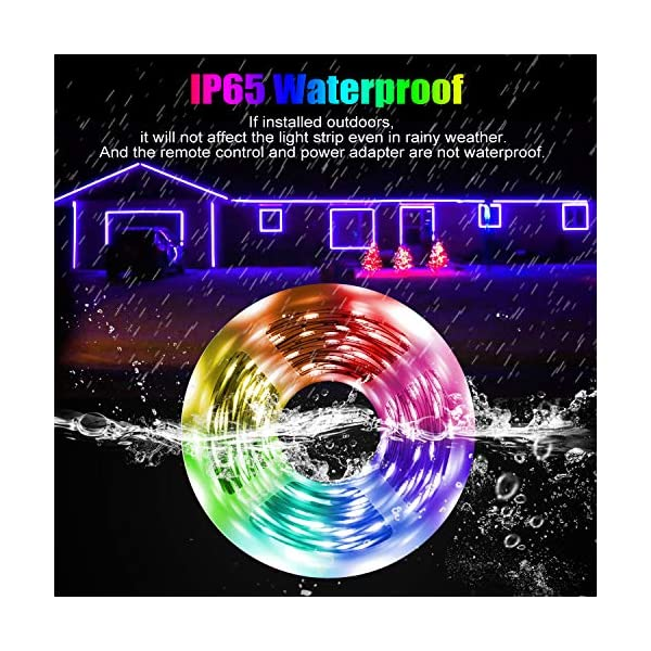 LED Strip Light, 16.4 ft Waterproof Music RGB 5050 Led Rope Lights Color Changing LED Light Strip Kit with Remote… 3