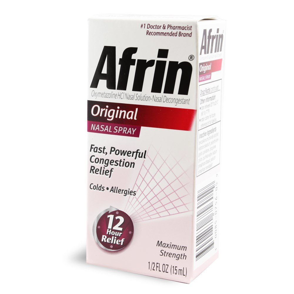 Afrin Original Maximum Strength Nasal Decongestant Spray 0.5 oz (Pack of 6)