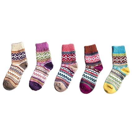 FENICAL 5 pares de lana de imitación de invierno calcetines gruesos calcetines de tubo mediados de