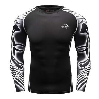 squarex Camiseta de Manga Larga para Hombre, Yoga, Fitness ...