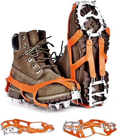 Kbnian Par de crampones de Nieve y Hielo de 18 Dientes Tacos de tracción de Goma elástica Antideslizantes de Acero Inoxidable para Zapatos Botas ...