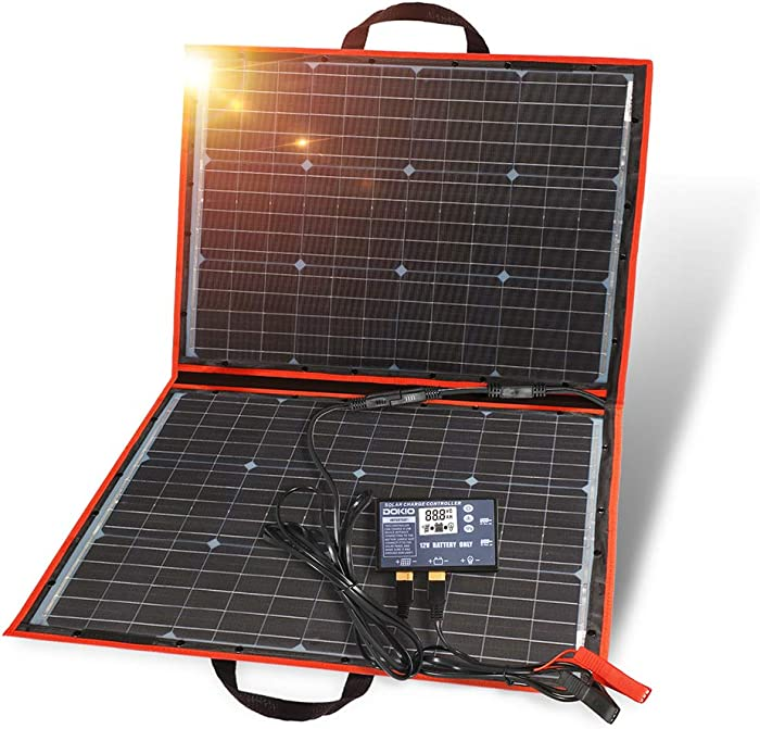DOKIO 100W Portable Foldable Solar Panel Kit Lightweight(6lb,29x21inch) Monocrystalline(HIGH-Efficiency) with Controller (2 USB Ports) to Charge 12v Batteries (Vented AGM Gel) RV Camper Boat Pump