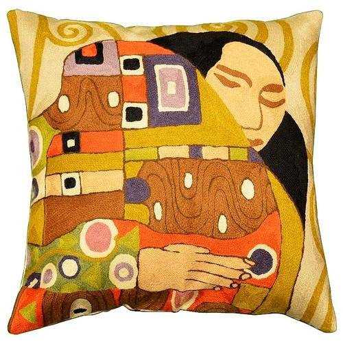 Kashmir Designs Klimt Kiss Cushion Cover Hand Embroidered 18