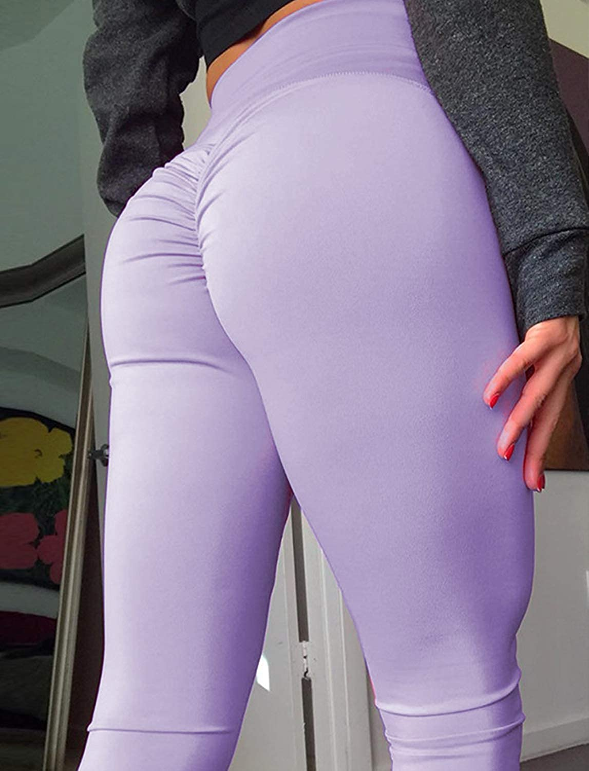 Memoryee Scrunch da donna Butt Yoga Pants Leggings Vita alta Allenamento Sport Fitness Palestra Calzamaglia Push Up