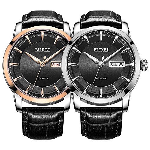 BUREI Mens Classic Automatic Watches with Black Dial Stainless Steel Case Black Calfskin Leather
