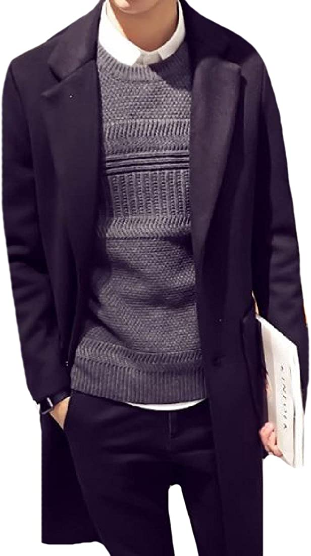 YUSKY Mens Basic Style Open Front Eco Fleece Mid Long Trench Coat