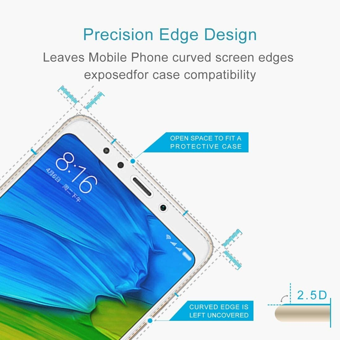 GzPuluz Glass Screen Protector 50 PCS for Xiaomi Redmi 5 0.26mm 9H Surface Hardness 2.5D Explosion-Proof Tempered Glass Screen Film No Retail Package
