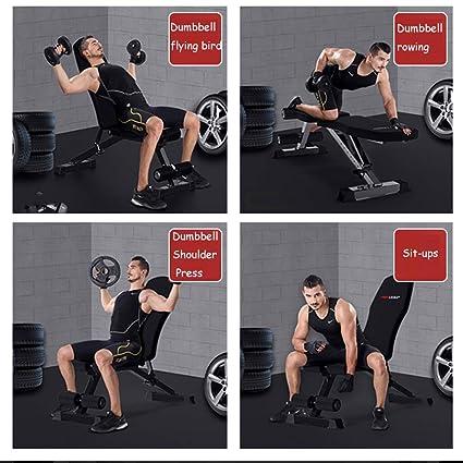 Lxn Banco con mancuernas profesional, sentarse banco de ejercicio de entrenamiento plegable de fitness banco de pesas para entrenamiento completo del cuerpo ...
