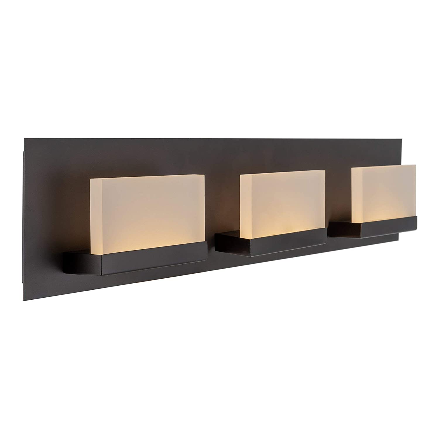 Kira Home Everett 24 Modern 3-Light 19W Integrated LED 180W eq. Bathroom Vanity Light, Rectangular Acrylic Lenses, Energy Efficient, Eco-Friendly, 3000k Warm White Light, Oil Rubbed Bronze Finish