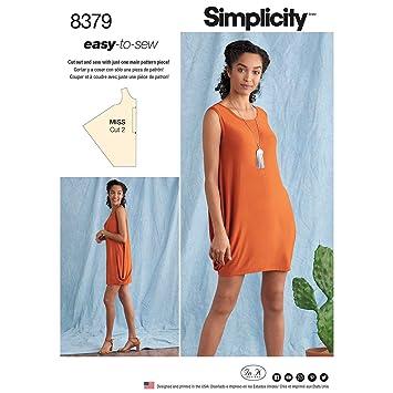 Simplicity Schnittmuster 8379 Damen Strick Kleid Papier Weiss 22 X
