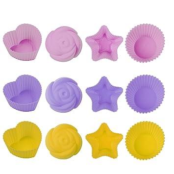 Colorful antiadherente de silicona para cupcakes Mini moldes para cupcakes Candy Mold Snack soporte: Amazon.es: Hogar