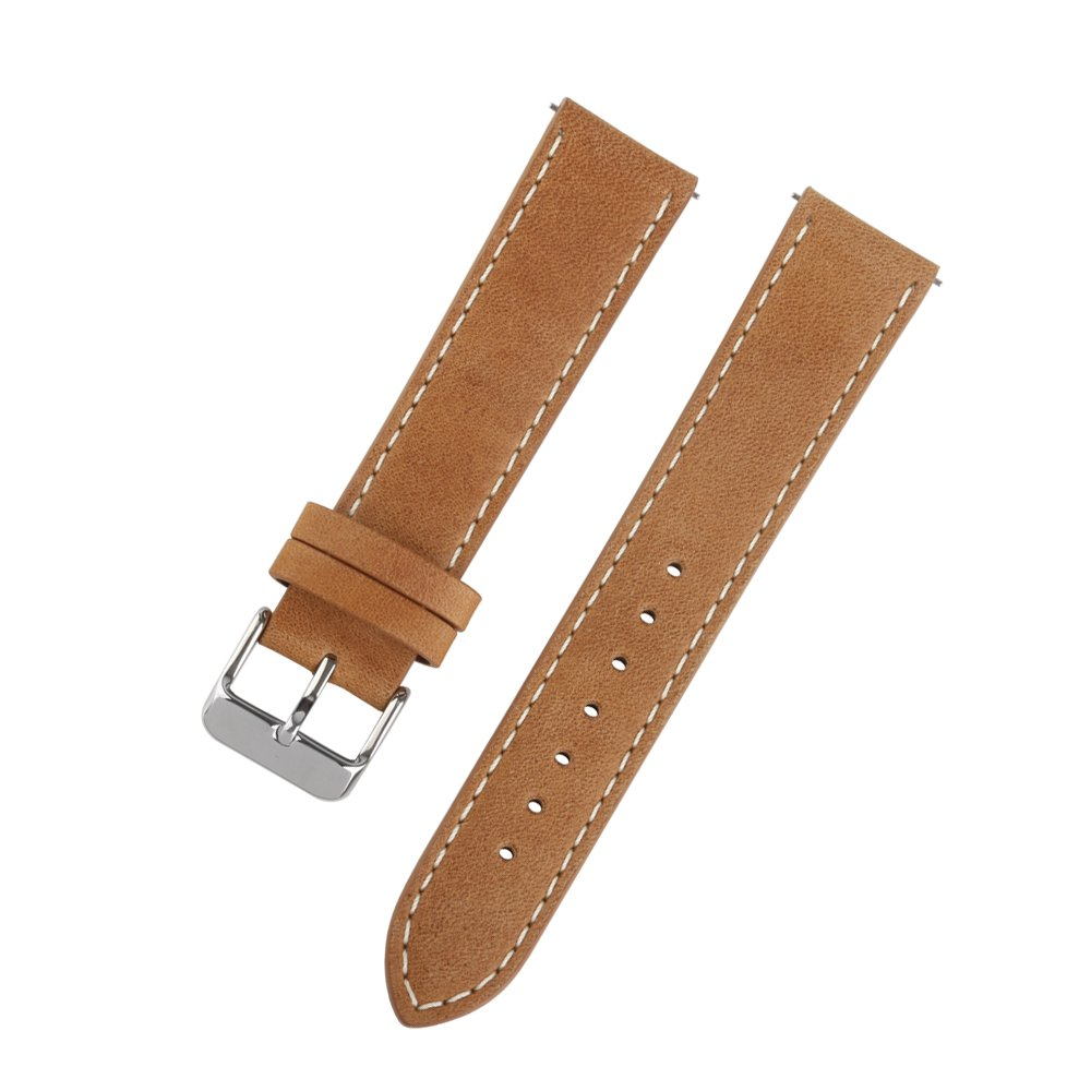 Ivystore Watch Strap 18mm 20mm 22mm Vintage Genuine Leather Sport Watch Strap or Smart Watch Band with Quick Release Spring Bar And Stainless Steel Buckle (22mm, L.Brown)