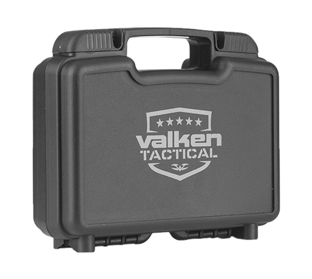Valken Outdoor Airsoft Tactical Molded 2 Pistol with Foam Gun Case, 14''/Large, Black