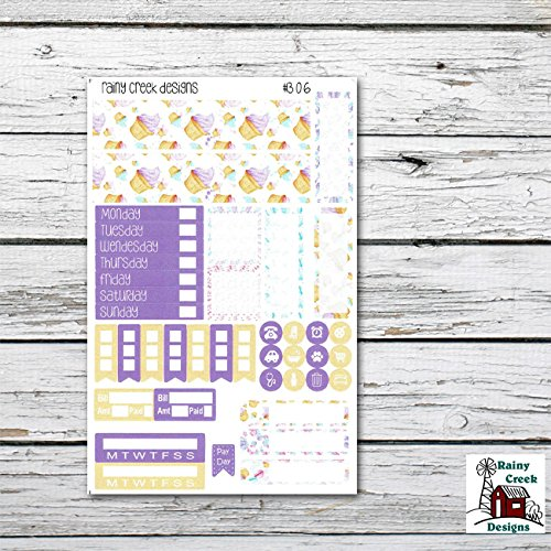 Cupcake Weekly Planner Sticker Kit for Recollections Mini Vertical Planners/ Functional Stickers/ Checklists/ #306