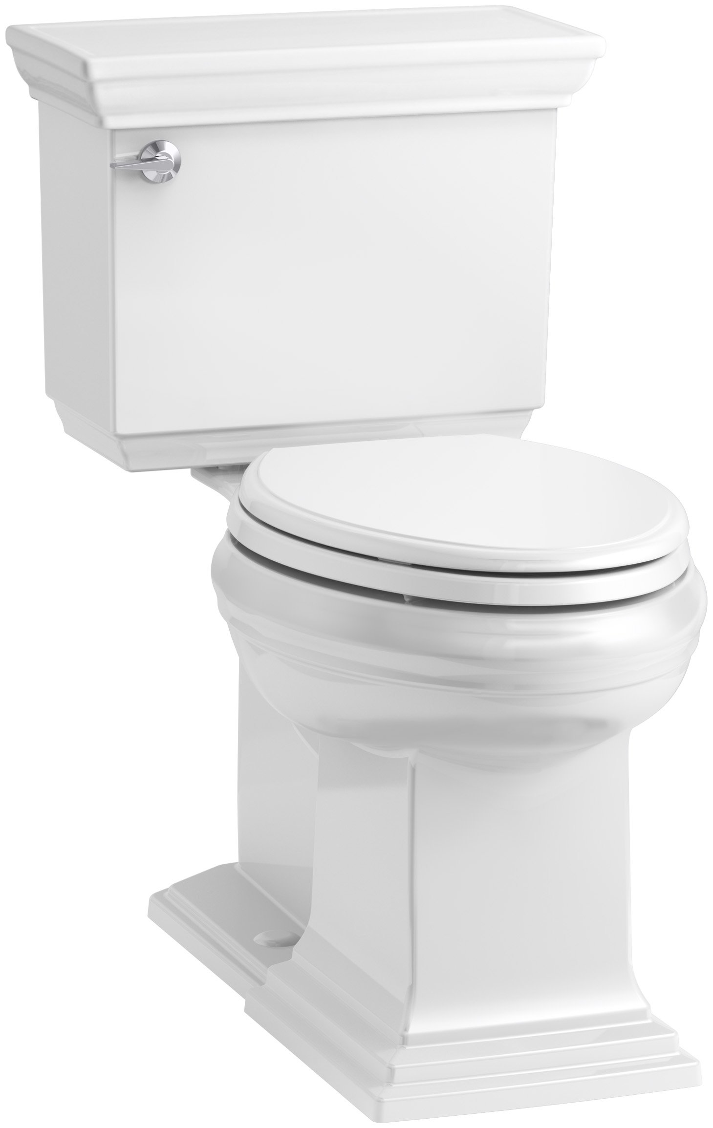 KOHLER K-6669-0 Memoirs Stately Comfort Height Elongated 1.28 GPF Toilet with Aqua Piston Flush Technology, Concealed Trap Way and Left-Hand Trip Lever (2 Piece), White by Kohler