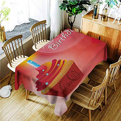 Fashions Rectangular Table Cloth,58th Birthday Abstract Sun Beams Backdrop Party Theme Cupcake with Frosting Image,Table Cover for Kitchen Dinning Tabletop Decoratio,W52x70L,Ruby Red and Orange -