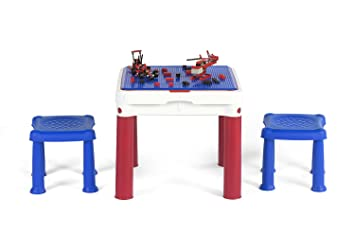 Amazon.com: Keter ConstrucTable Kids Activity and Play Table with 2 ...