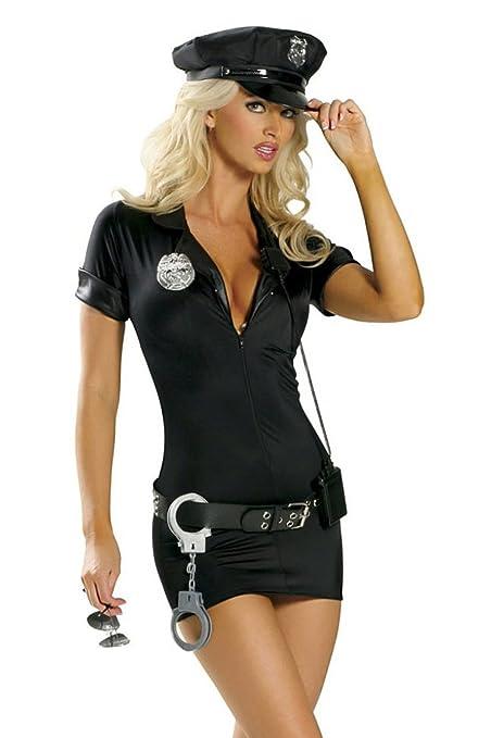 Disfraz de policía para mujeres – Mujer policía – Negro – Gorro, vestido, cinturón, insignia, esposas – S (36/38)
