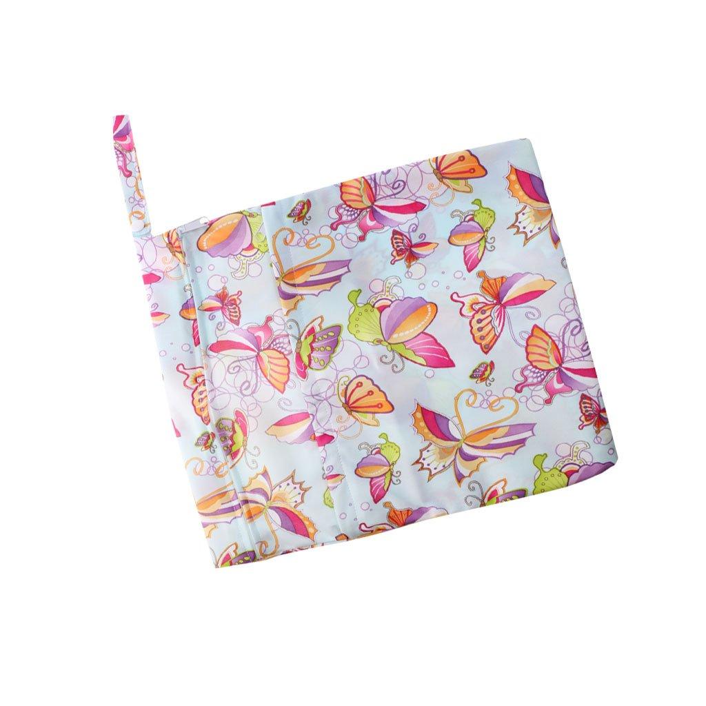 Waterproof Resuable Wet Dry Baby Diaper Bag Organizer Dual Zipper Butterfly Pattern Generic STK0155005624