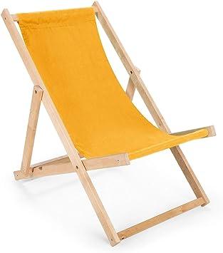BAS 2 x 2 x Longue chaise pliante en bois jaune