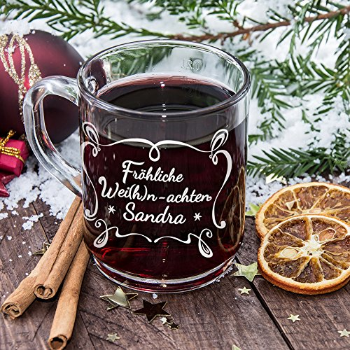 Glühweinbecher aus Glas - Glühweintasse mit lustiger Gravur - Fröhliche Wei(h)n-achten - Personalisiert mit Namen - Individuelles Glühweinglas als Weihnachtsgeschenk